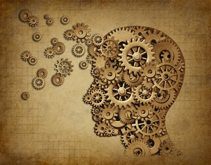 Conceptual image: a profile of a head with the gears spinning inside and expanding out through the forehead
