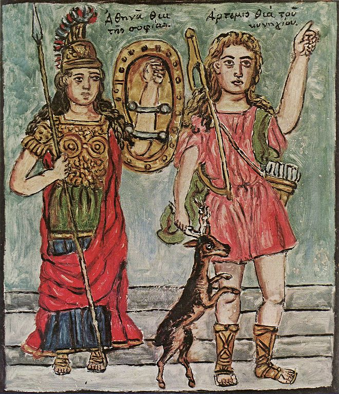 An oil painting of Athena and Artemis