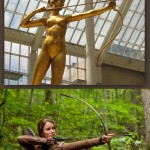 A statue of Artemis stretching out her bow and arrow mimics the pose that Katniss Everdeen took during the Hunger Games in this still from the film