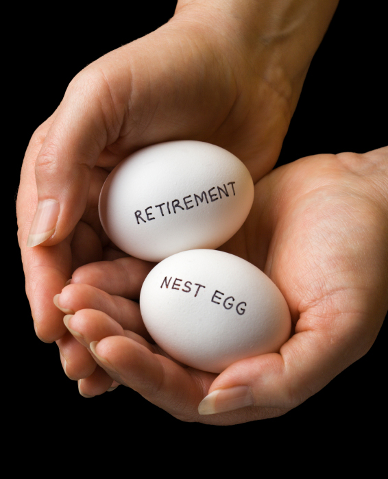 "Two cupped hands, each holding an egg: one labeled ""RETIREMENT"" and the other labeled ""NEST EGG""."