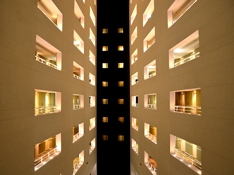 Abstract view of a hotels many floors from the interior.