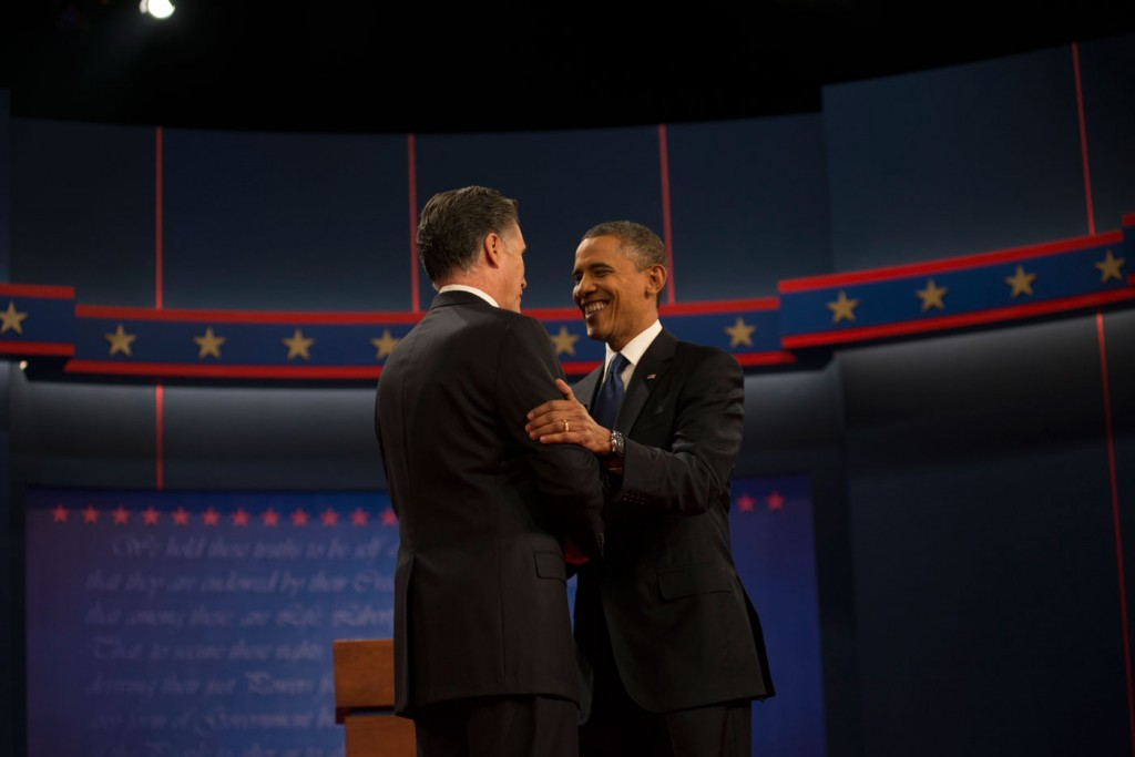Mitt Romney and Barack Obama shakes hands at the second Presidential Debate