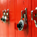 Combination lock on red locker thumbnail