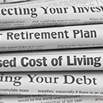 Retirement headlines on newspapers