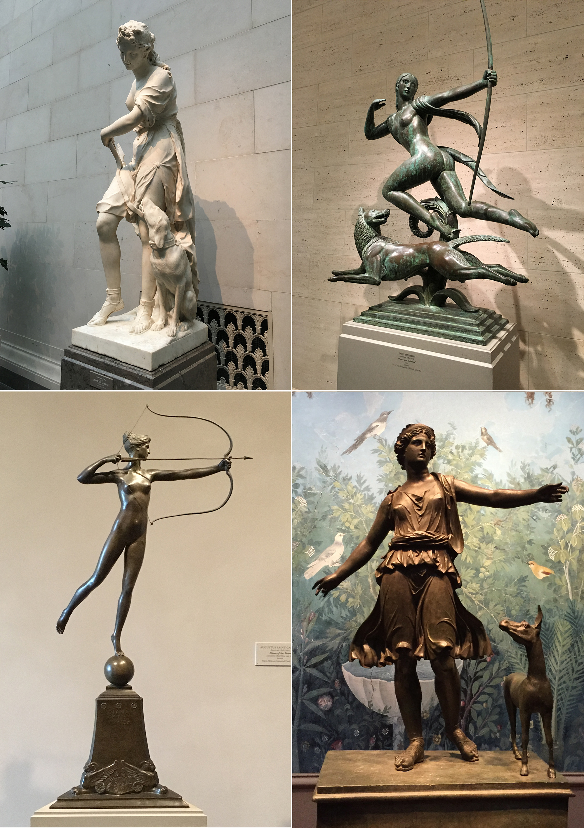 Statues of the goddess Artemis on display at the National Gallery in Washington DC