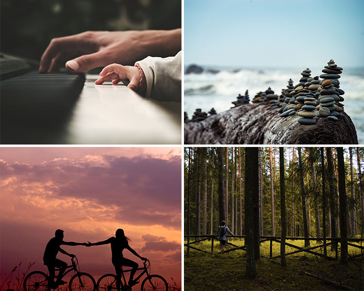 A collage of images that represent motivation research. Clockwise from top left: an adult and a toddler hand playing a piano; cairns stacked on a seashore; a man standing amongst tall trees; bicycle riders reaching out to each other as the sun sets behind them