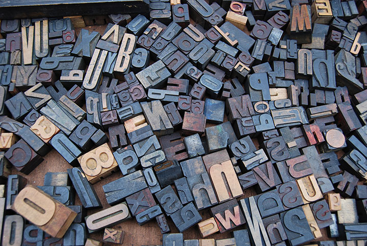 A mix of letterpress wood printing blocks