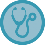 Stethoscope icon: primary marketing research for the healthcare industry
