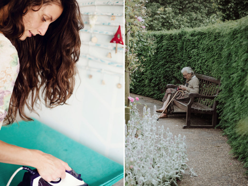 Women in finance: A young woman irons clothing at home; an elderly woman sits alone in a garden