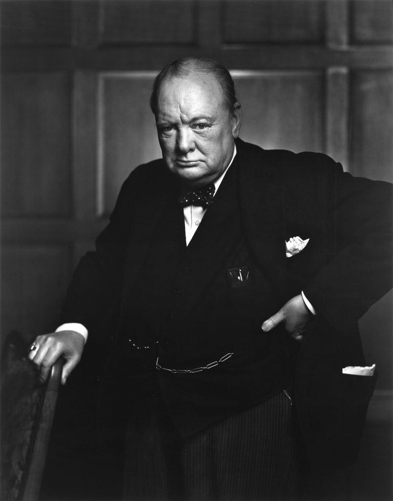 A portrait of Sir Winston Churchill